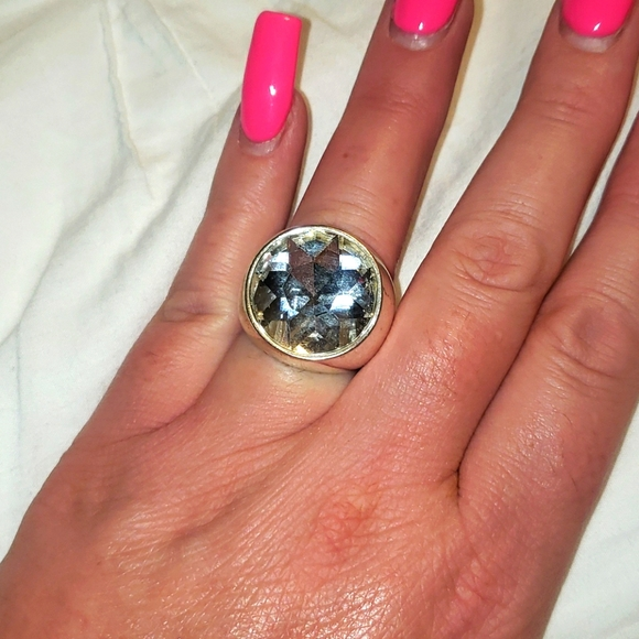 Silver giant diamond cocktail ring
